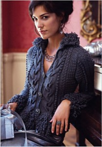 Loopy-trimmed cardi
