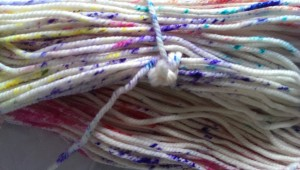 Sprinkle-dyed yarn, detail