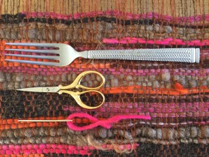 fork, scissors, tapestry needle