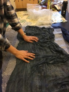 Gaynor flipped the fiber-covered side face down onto the bubble wrap to give it a little extra rub