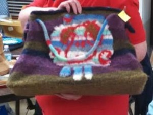 Felted bag with sheep. Lined and reversible!