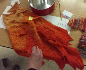 Leaf shawl, from different strengths of yellow #6, then overdyed to mitigate the obvious stripes. Lovely.