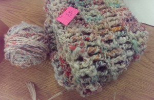 Knit cowl with pastel colors and grey alpaca for a tweedy look.