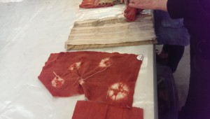 Shibori cochineal on wool