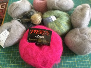 Selection of mohair yarn from my stash